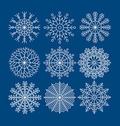 set of nine snowflakes christmas decoration vector image