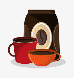 set porcelain mugs and packaking of coffee vector image