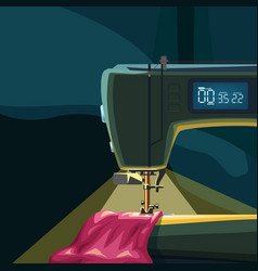 Sewing machine with light on dark back vector