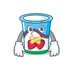 Silent yogurt mascot cartoon style vector