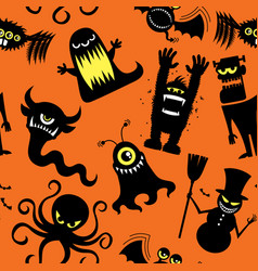 silhouette monsters pattern vector image