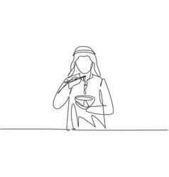 Single one line drawing young arabian man having vector