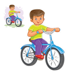 Small boy ride bikes vector