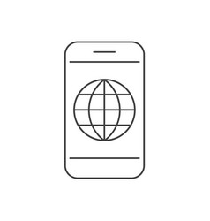 smartphone with globe inside icon vector image