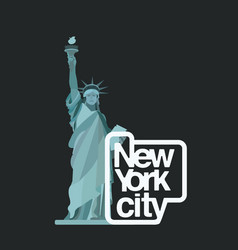 statue of liberty logo with new york city text vector image