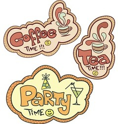Tea time Coffee time Party time vector