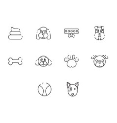 Thin line dog icon set vector
