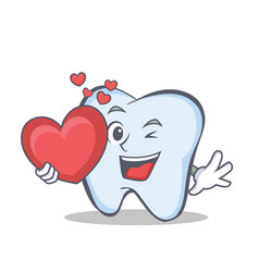 Tooth character cartoon style with heart vector