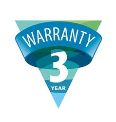triangular logo 3 year warranty vector image