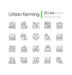 Urban farming linear icons set vector