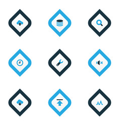 user icons colored set with activity database vector image