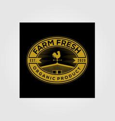 Vintage barn farm fresh logo organic product on vector