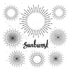 Vintage sunburst collection Hipster style vector image
