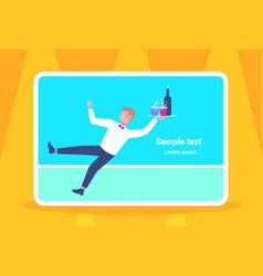 waiter falling with tray wine glasses elegant man vector image