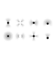 Wave sonar radar with signal icon pulse vector