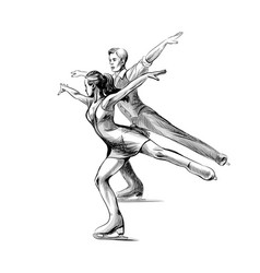 winter sport figure skating young couple skaters vector image