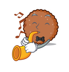 With trumpet chocolate biscuit mascot cartoon vector