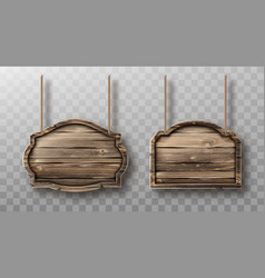 wooden boards on ropes set realistic signboards vector image