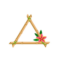 wooden frame made of bamboo sticks with flower vector image