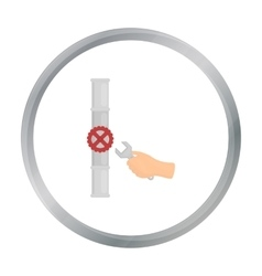 Wrench and valve icon in cartoon style isolated on vector