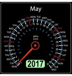 year 2017 calendar speedometer car in May vector image