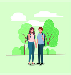 Young couple on the park characters vector