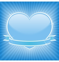 blue heart with ribbon vector image vector image