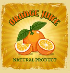 fresh orange vintage poster vector image