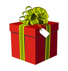 Red gift box with green and golden ribbon vector image vector image