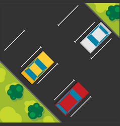 top view of a car parked flat vector image vector image