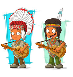 cartoon indian chief and boy character set vector image