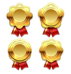 gold banners with red ribbons vector image vector image