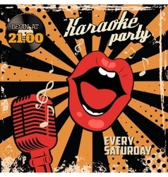 Karaoke party Human lips with old style vector image vector image