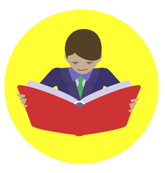man reading open book vector image