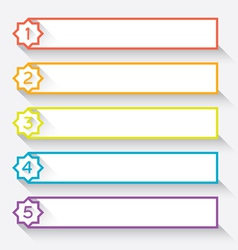 Set of numbered paper style headers with star vector image