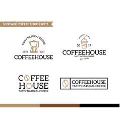 unique coffee and tea logotype design template vector image