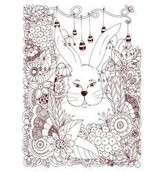 Zen tangle rabbit in the vector