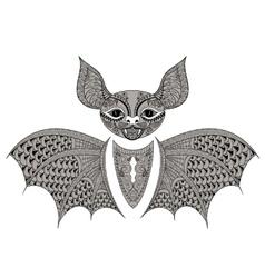 Zentangle black Bat totem for adult anti stress vector image