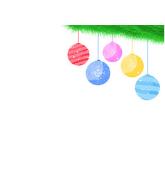 balls on the christmas tree branch festive toys vector image