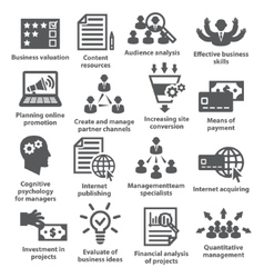 Business management icons Pack 09 vector image vector image