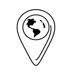 outline pointer globe map location continent vector image