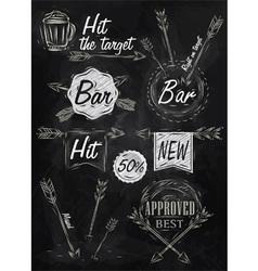 Set emblem of Bar Boom Arrow chalk vector image vector image