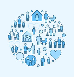 family blue round symbol vector image