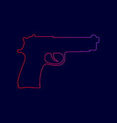gun sign line icon with vector image