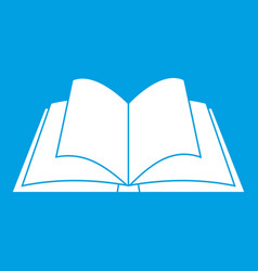 Opened book with pages fluttering icon white vector
