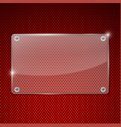 transparent acrylic plate on red perforated vector image vector image