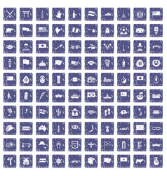 100 national flag icons set grunge sapphire vector image