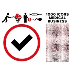 Accept Rounded Icon With Medical Bonus vector