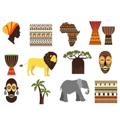 Africa safari emblems and flat icons vector image