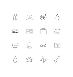 Animals linear thin icons set outlined simple vector